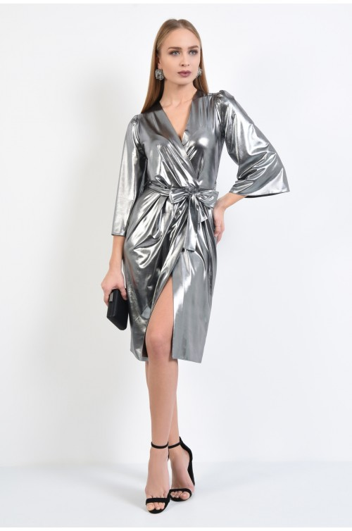 360 - rochie de seara, argintie, petrecuta, cu cordon