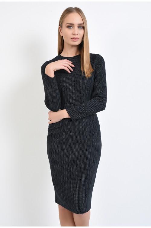 rochie casual, conica, midi, cu picouri, neagra