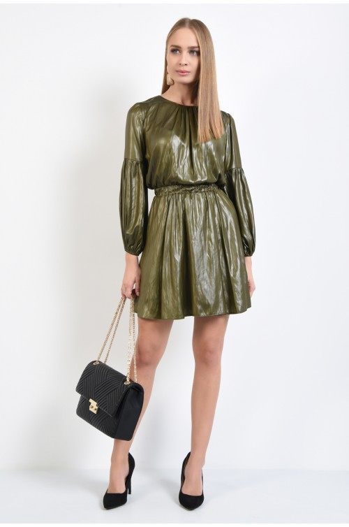 360 - rochie de zi, cu aspect sifonat, verde kaki, maneci bishop, talie pe elastic