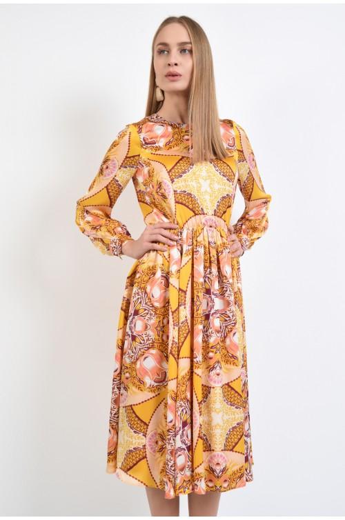 360 - rochie casual, galben mustar, imprimata, print multicolor, lungime midi, evazata