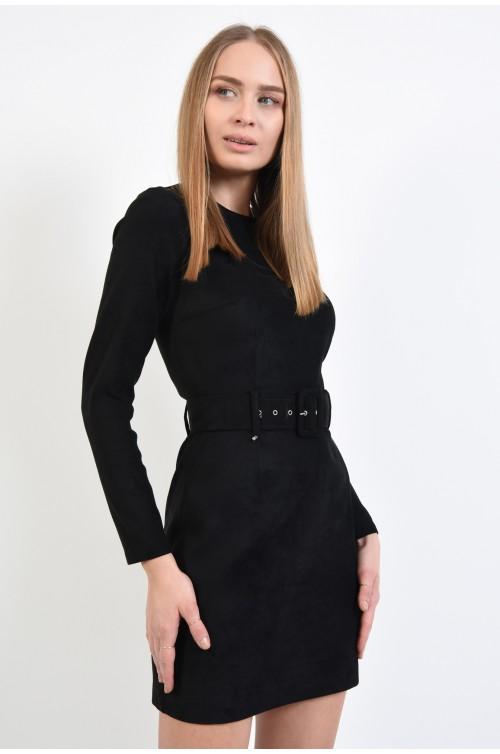 rochie mini, neagra, piele intoarsa ecologica, cu centura, maneci ajustate