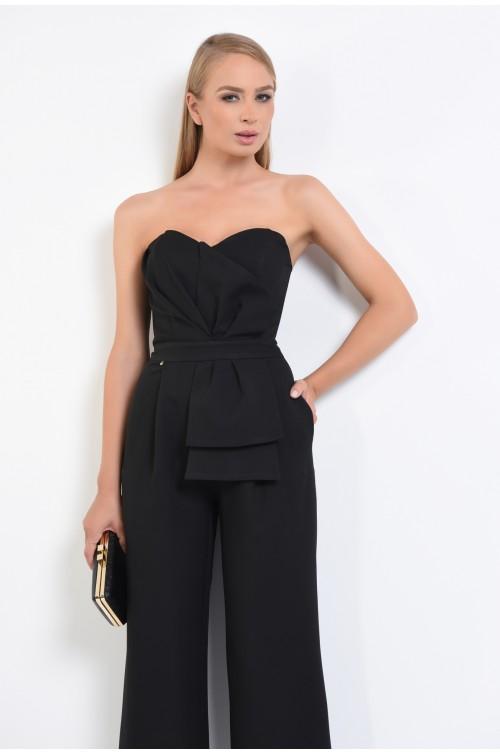 salopeta eleganta, negru, corset, balene, decolteu inima