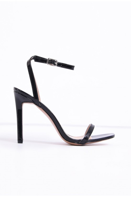 sandale elegante, din lac, negre, toc cui