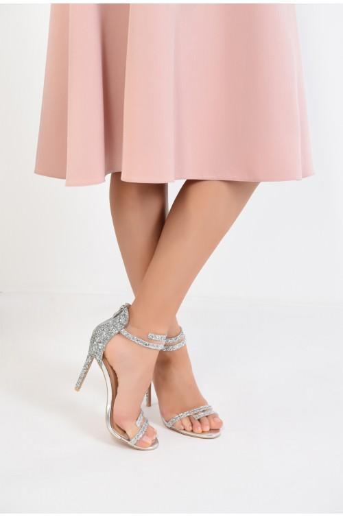 sandale elegante, argintii, cu glitter, stiletto