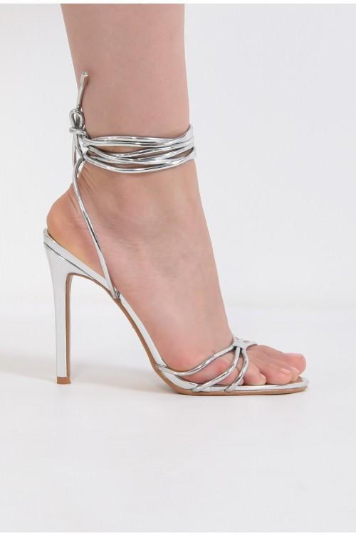 sandale elegante, argintii, cu snur, stiletto