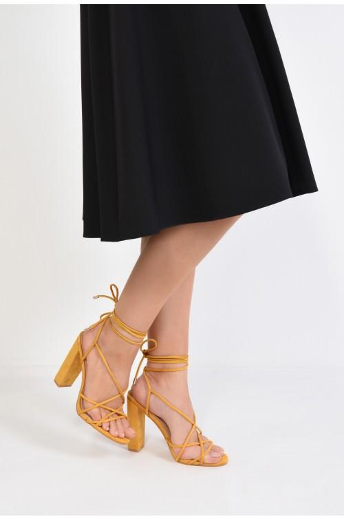 sandale elegante, din velur, mustar, barete tip snur