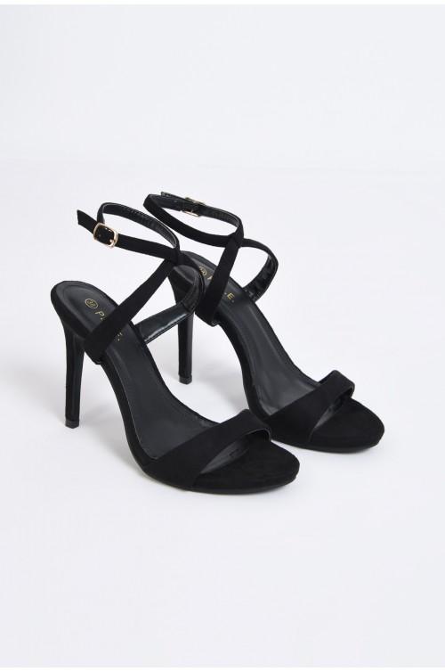 sandale elegante, velur, negru, toc cui