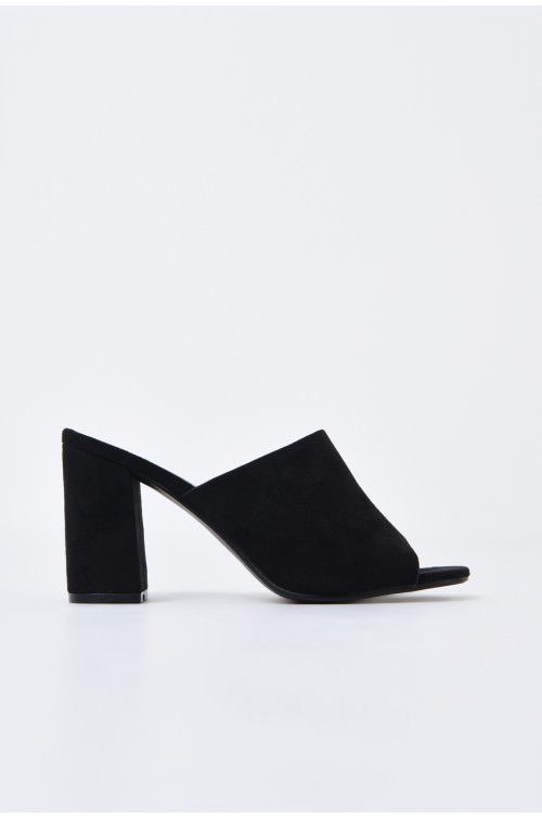 saboti, negru, toc gros, varf decupat, sandale online