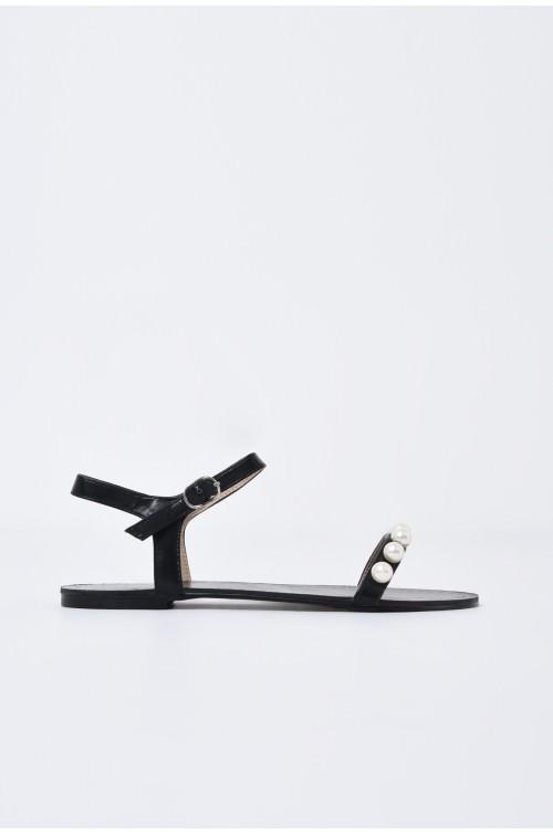 sandale comode, negre, cu talpa joasa, bareta cu perle