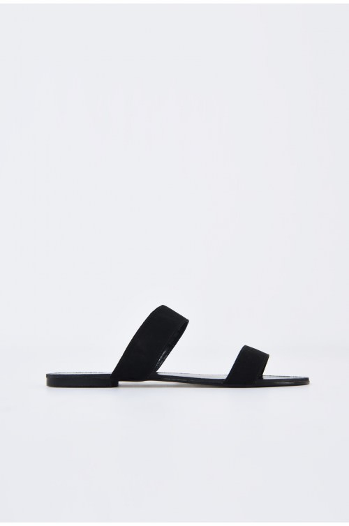 papuci din velur, negru, talpa joasa, barete late