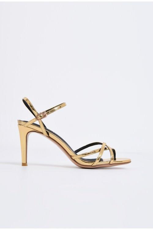 sandale elegante, aurii, cu toc, aspect metalic