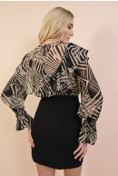 2 - BLUZA CASUAL DIN SIFON CU IMPRIMEU ABSTRACT