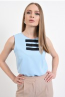 3 - BLUZA OFFICE BLEU CU FUNDE IN CONTRAST