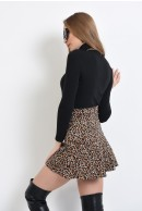 2 - FUSTA MINI ANIMAL PRINT CU VOLAN