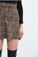 3 - FUSTA MINI ANIMAL PRINT CU VOLAN