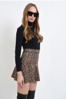 1 - FUSTA MINI ANIMAL PRINT CU VOLAN